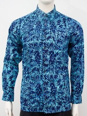 Karyaneka Casual Long Sleeve Abstract Design Batik Shirt (Navy-lightblue) 0650104005032B
