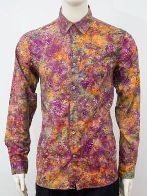 Karyaneka Casual Long Sleeve Abstract Design Batik Shirt (Orange-Fuschia) 0651204012310E
