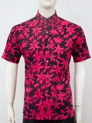 Karyaneka Casual Short Sleeve Abstract Design Batik Shirt (Black-Fushcia) 0651204012316