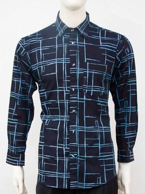 Karyaneka Casual Long Sleeve Abstract Design Batik Shirt (Black-Blue) 0651004006109