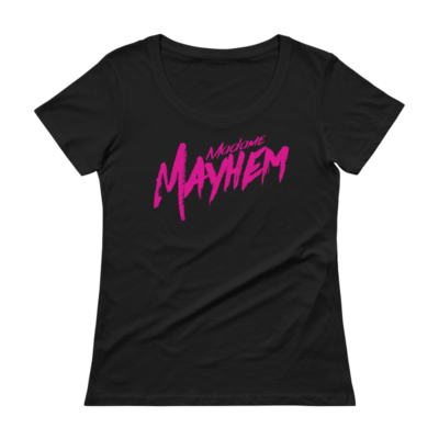 Ladies' Scoopneck Pink/Blk Tee