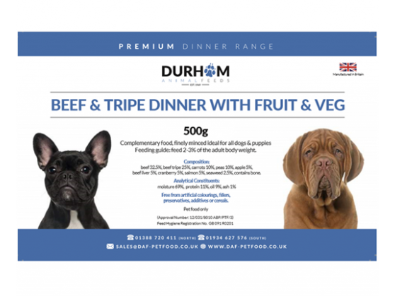 Durham - Beef & Tripe with Fruit & Veg Dinner - 500g