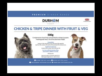 Durham - Chicken & Tripe Dinner with Fruit & Veg - 500g