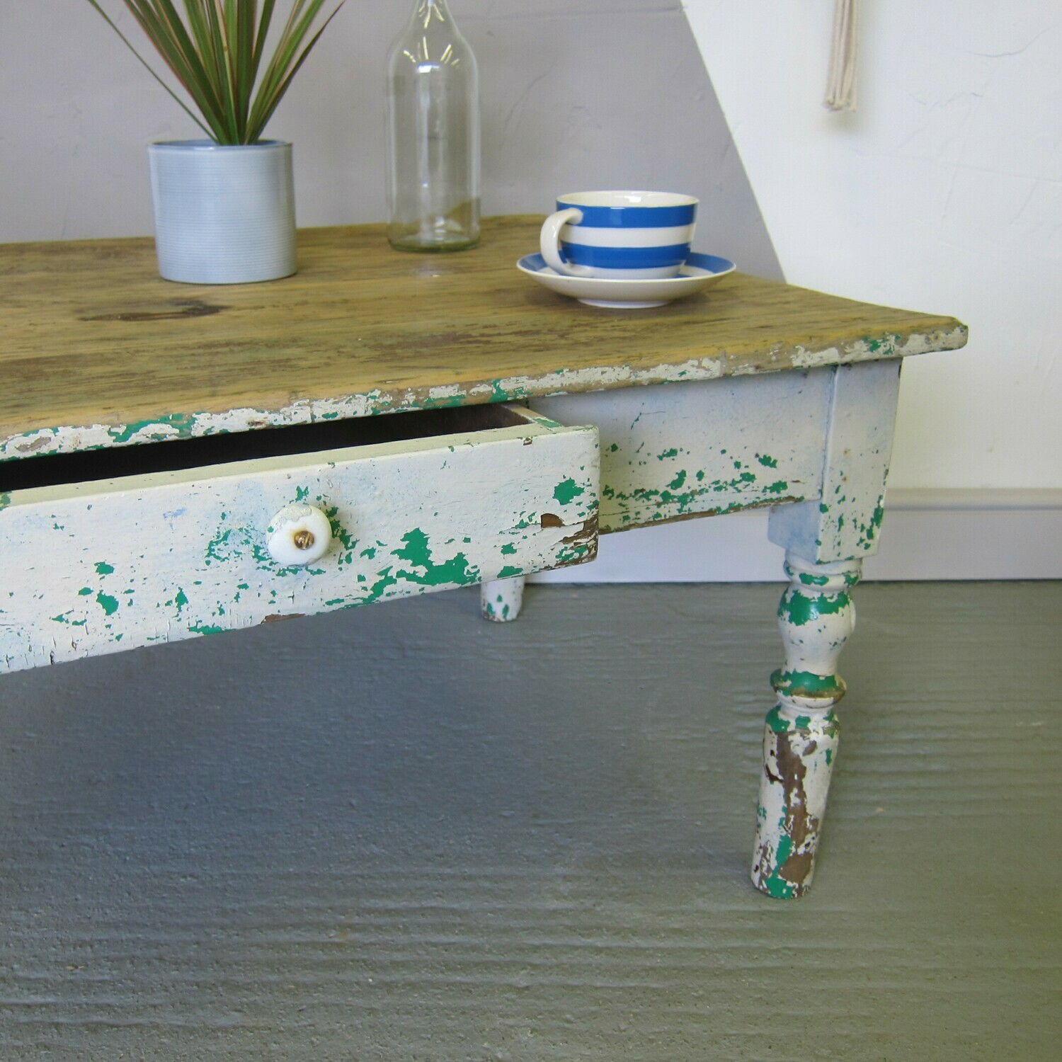Coffee Table Rustic Pine Paint Victorian Vintage French
