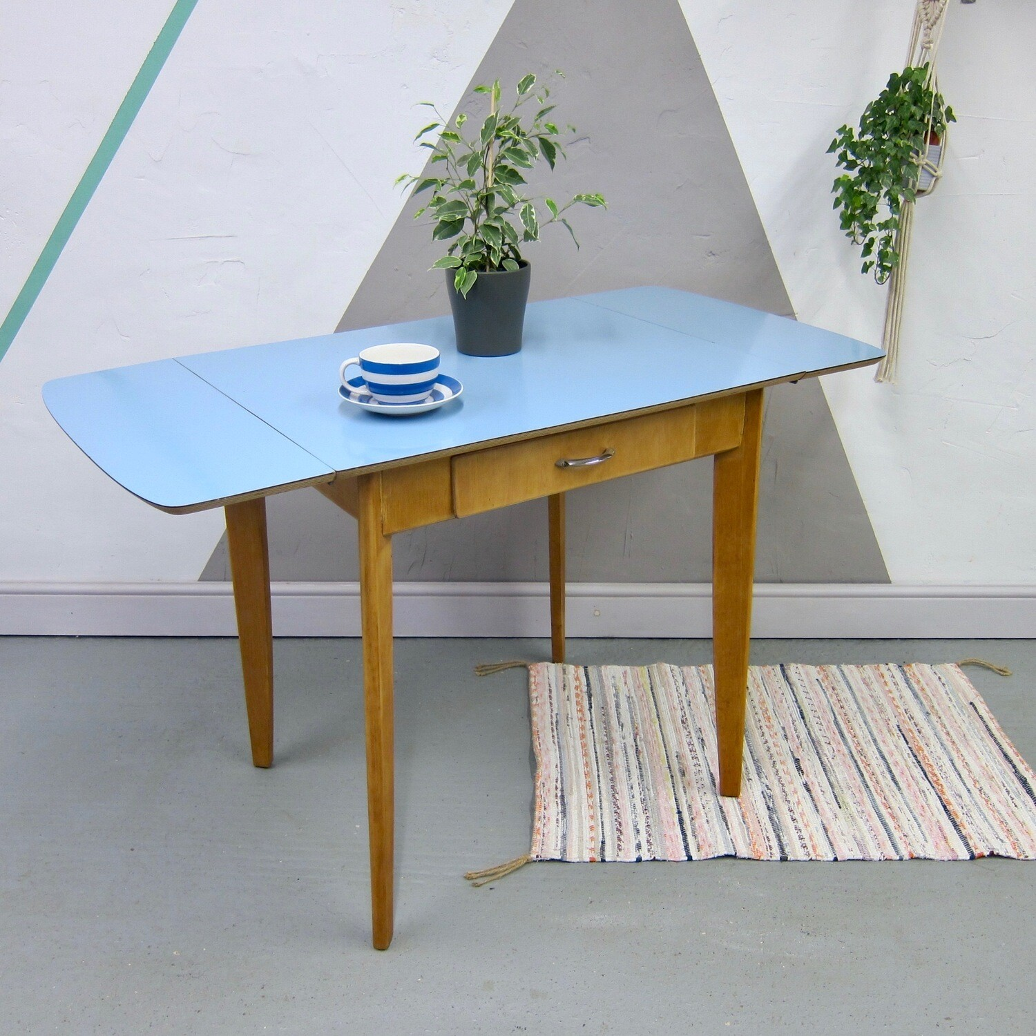 blue formica kitchen vintage dining table mid century