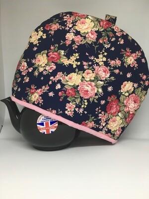 Tea Cosy Blue w/Pink Flowers