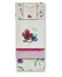 Cooksmart Chatsworth Floral Set Of 3 Tea Towels