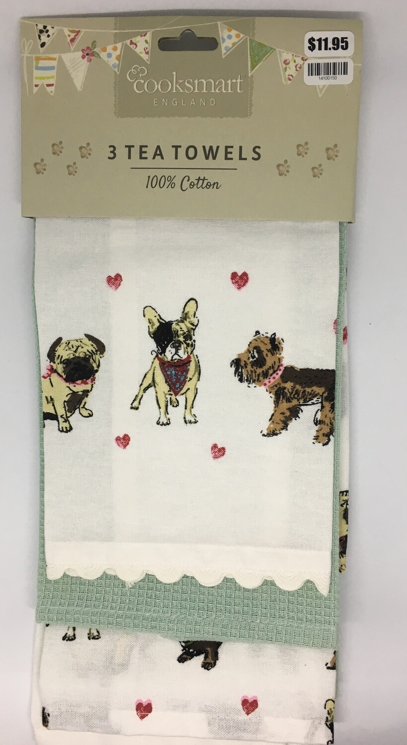 Cooksmart Out For A Walk Set Of 3 Tea Towels