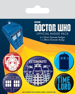 Dr Who Official Badge 5 Pack