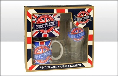 Brit Pint Glass Coaster Mug Set