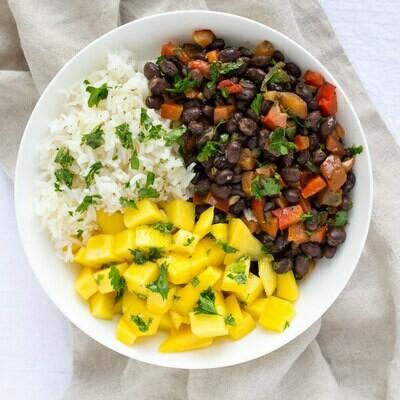 Sri Lanka Veggie Black Bean and Mango Rice Bowl