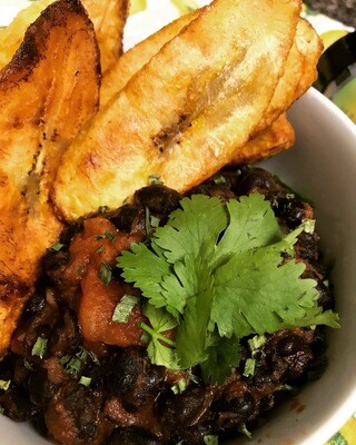 Cameroonian Black beans and Fried Plantains Dish