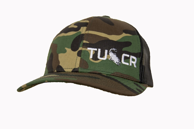 ARMY CAMO/BLACK TRUCKER HAT