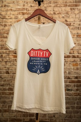 Womens Concert Series V-Neck White with Color Logo