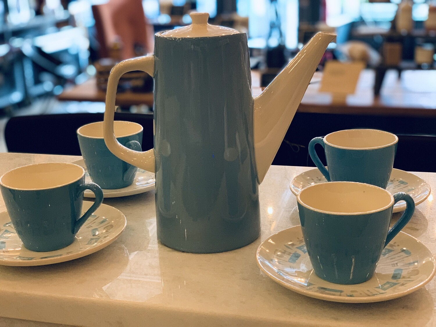 Mid Century Modern Coffee Set--Blue
