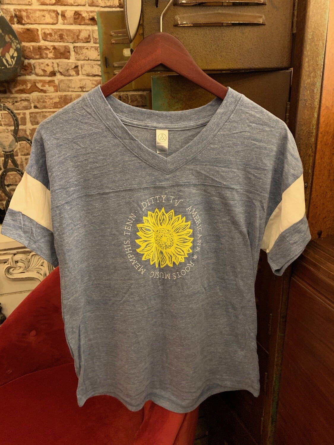 Womans DittyTV Sunflower Jersey T Shirt--Eco Blue with White Stripe