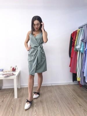 Серо-голубое платье мини