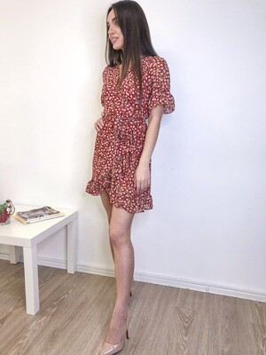 Красное платье мини с цветочным принтом