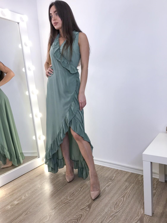 Длинное сине-бирюзовое платье