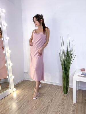 Пудровое платье-комбинация