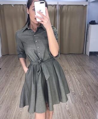 Платье миди хаки