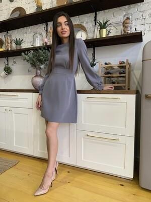 Платье серое мини