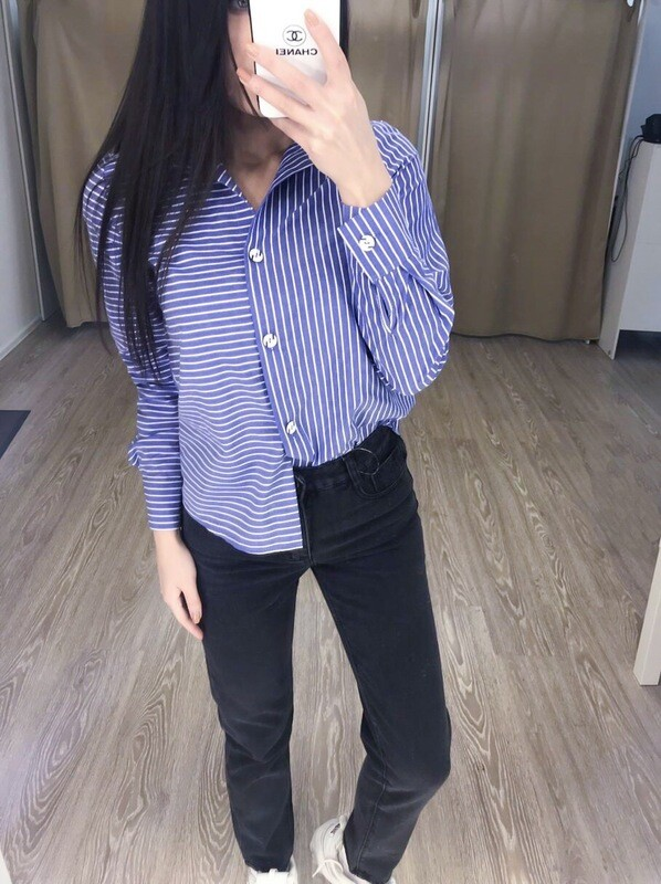 Синяя рубашка в полоску