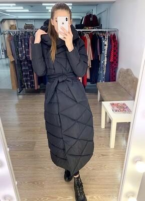 Куртка зимняя черная ромб