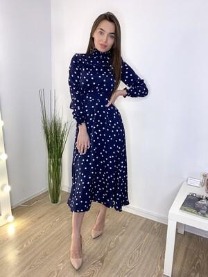 Платье миди синее в белый горох с резиночками на рукавах