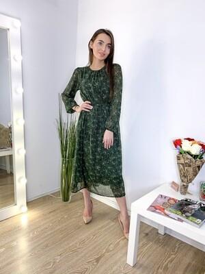 Платье миди шифоновое зелёное