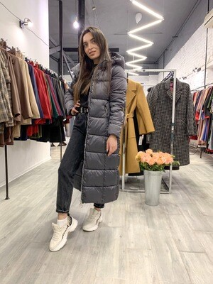 Куртка-пуховик зимняя серая