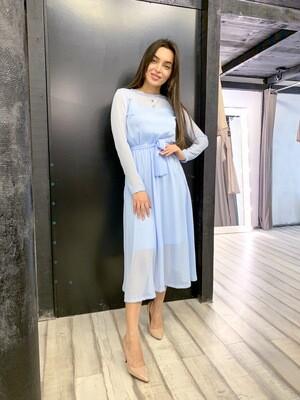 Платье миди шифоновое с поясом