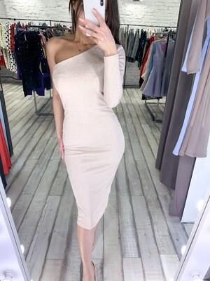 Платье с одним рукавом люрекс