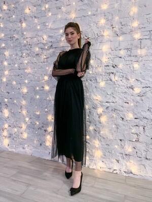 Платье длинное с поясом
