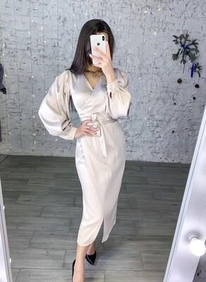 Платье миди атласное