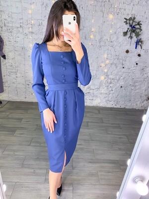Платье миди с пуговицами и квадратным вырезом