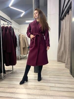 Пальто-халат с накладными карманами