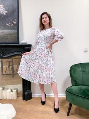 Платье миди плиссе  в цветочек
