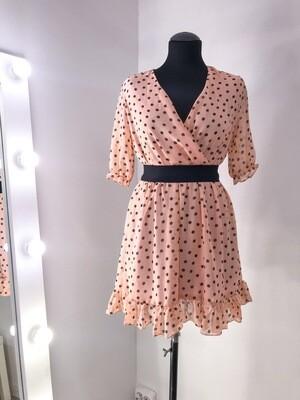 Платье персиковое мини в горошек