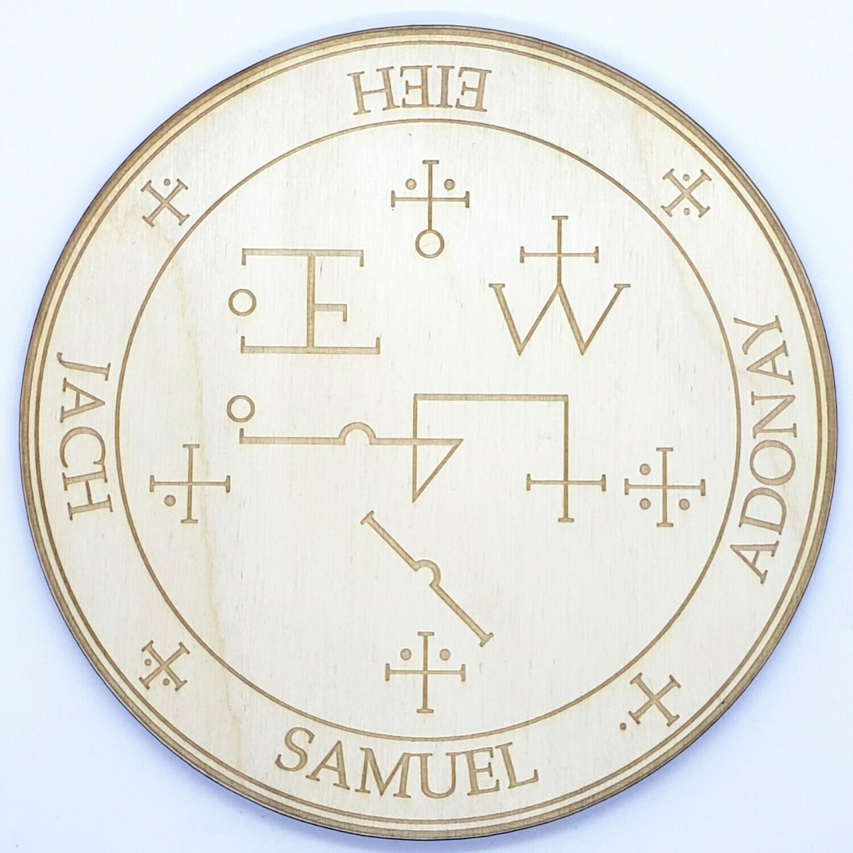 Archangel Samuel Wooden Angel Altar Plaque