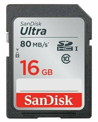 SanDisk 16GB Ultra SDHC Memory Card 80MB