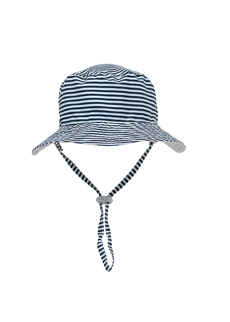 Blue Stripe Bucket Sun Hat - M