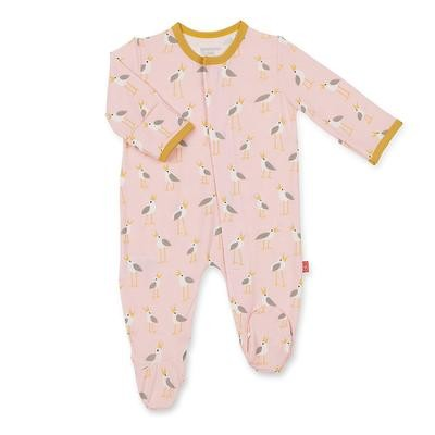 Pink Plover Modal Magnetic Footie 0/3m
