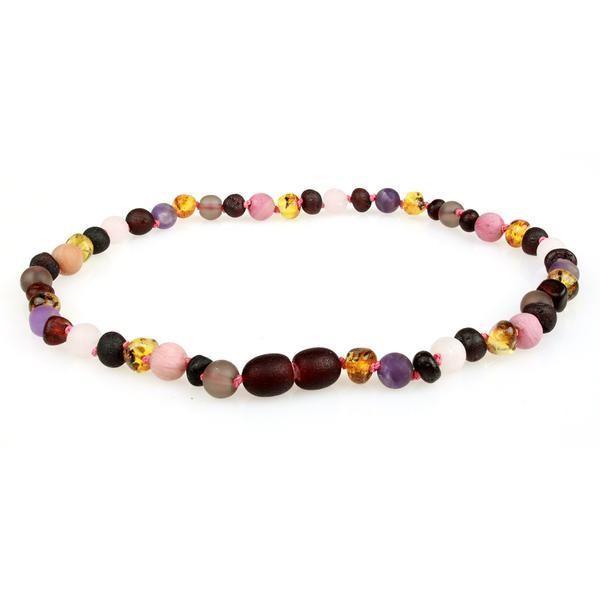 Five Gem Amber Necklace