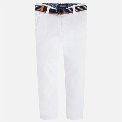White Belted Twill Pants 3503B-5