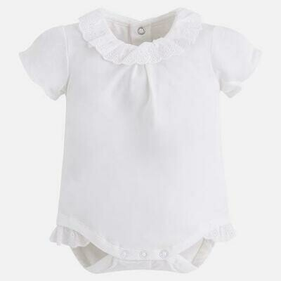 White Lace-Trimmed Onesie 1706B 12m