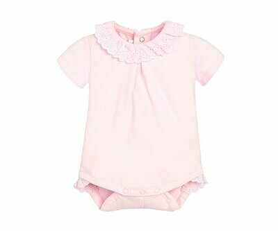 Pink Lace-Trimmed Onesie 1706r 6/9m