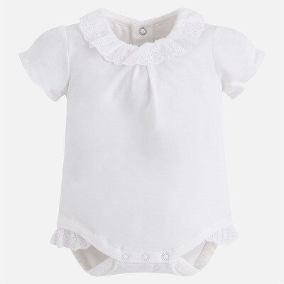 Off-White Lace-Trimmed Onesie 1706W 2/4m