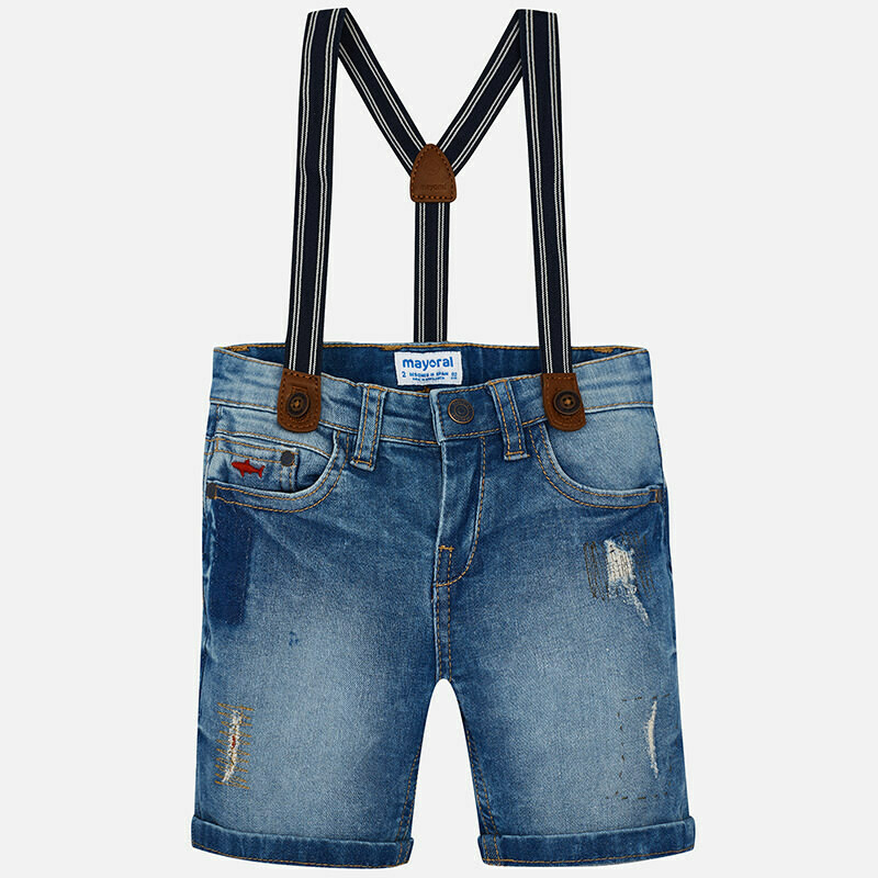 Denim Suspender Shorts 3270T-4