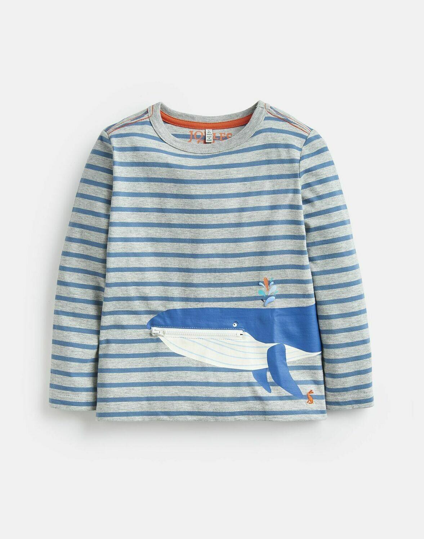 Zipper Whale Shirt 6y